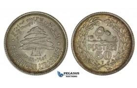 G83, Lebanon, 50 Piastres 1952, Silver, Toned UNC!