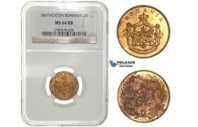 G89, Romania, Carol I, 2 Bani 1867-Heaton, NGC MS64RB