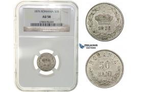 G90, Romania, Carol I, 50 Bani 1876, Brussels, Silver, NGC AU58, Rare!