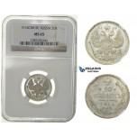 G91, Russia, Nicholas II, 20 Kopeks 1914, Silver, NGC MS65
