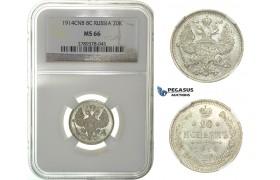 G92, Russia, Nicholas II, 20 Kopeks 1914, Silver, NGC MS66