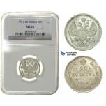 G96, Russia, Nicholas II, 20 Kopeks 1916, Silver, NGC MS65