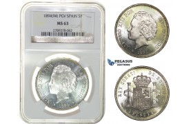 H06, Spain, Alfonso XIII, 5 Pesetas 1894 (94) PG-V, Valencia, Silver, NGC MS63