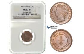 H07, Straits Settlements, Victoria, 1/4 Cent 1889, NGC MS63BN