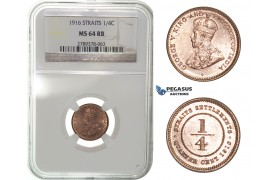 H08, Straits Settlements, George V, 1/4 Cent 1916, NGC MS64RB