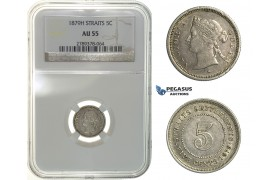 H09, Straits Settlements, Victoria, 5 Cents 1879-H, Heaton, NGC AU55, Rare!