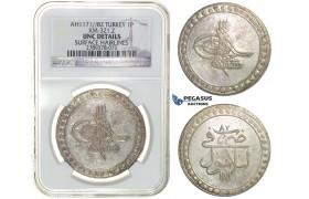 H15, Ottoman Empire, Turkey, Mustafa III, Piastre AH1171/82, Islambul, NGC UNC Det.