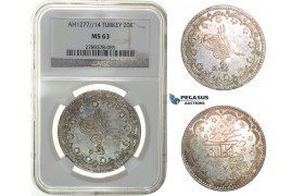 H23, Ottoman Empire, Turkey, Abdülaziz, 20 Kurush AH1277/14, Silver, NGC MS63