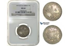 H28, Ottoman Empire, Turkey, Mehmed V, 5 Kurush AH1327/2, Silver, NGC MS64