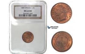 H32, Straits Settlements, Victoria, 1/4 Cent 1889, NGC MS63RB