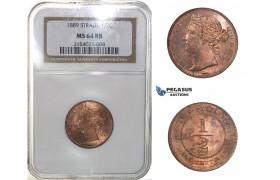 H33, Straits Settlements, Victoria, 1/2 Cent 1889, NGC MS64RB