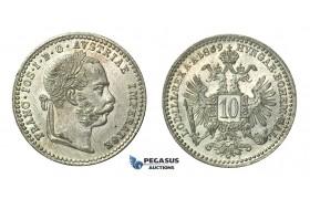 H38, Austria, Franz Joseph, 10 Kreuzer 1869, Silver, UNC!