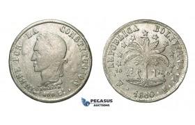 H39, Bolivia, 8 Soles 1860 PTS/FJ, Potosi, Silver