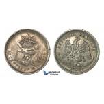 H47, Mexico, 25 Centavos 1872 Mo M, Mexico City, Silver, Toned High Grade!