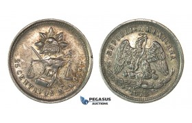 H47, Mexico, 25 Centavos 1872 Mo M, Mexico City, Silver, Toned High Grade!