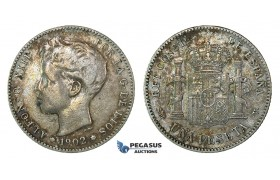 H59, Spain, Alfonso XIII, Peseta 1902 (02) Silver, Nice Toning!