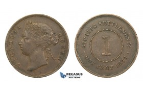 H60, Straits Settlements, Victoria, Cent 1873, Nice coin!