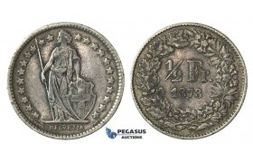 H64, Switzerland, 1/2 Franc 1878-B, Bern, Silver, Nice!