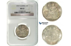 I18, French Indo-China (Vietnam) 20 Centimes 1937, Silver, NGC MS63