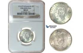 I23, Ecuador, 2 Decimos 1914-TF, Philadelphia, Silver, NGC MS63