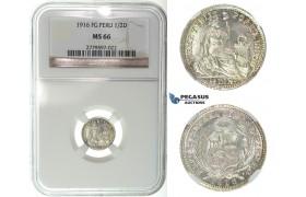 I24, Peru, 1/2 Dinero 1916 FG, Silver, NGC MS66
