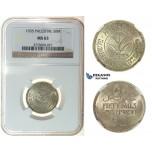 I25, Palestine 50 Mils 1935, Silver, NGC MS63