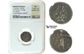 I30, Roman Republic, L. Procilius L.f. AR Denarius (3.82 g), Rome (ca. 80 BC) NGC EF