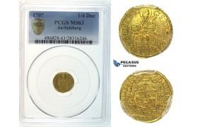 I34, Austria, Salzburg, Johann Ernst, 1/4 Ducat 1707, Gold, PCGS MS63