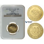 I36, Central African Republic, ESSAI 100 Francs 1971, Paris, Gold, Extremely Rare! NGC PF65