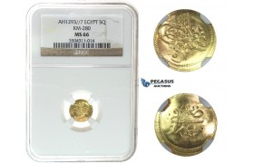 I40, Ottoman Empire, Egypt, Abdülhamid II, 5 Qirsh AH1293/7, Misr, Gold, NGC MS66