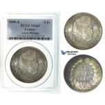 I42, France, Louis Philippe, 5 Francs 1848-A, Paris, Silver, PCGS MS63