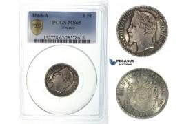 I43, France, Napoleon III, 1 Franc 1868-A, Paris, Silver, PCGS MS65
