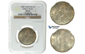 I46, Great Britain, Victoria, Florin 1887 (Jubilee Head) Silver, NGC MS63