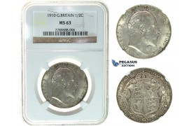I47, Great Britain, Edward VII, 1/2 Crown 1910, Silver, NGC MS63