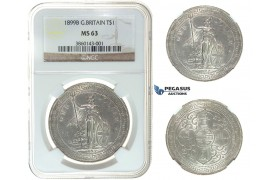 I49, Great Britain, Trade Dollar 1899-B, Bombay, Silver, NGC MS63