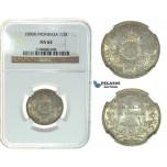 I55, Mombasa, 1/2 Rupee 1890-H, Heaton, Silver, NGC MS63