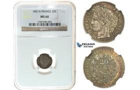 I60, France, 2nd Republic, 20 Centimes 1851-A (CERES) Paris, NGC MS66