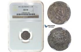 I62, France, Napoleon (Empereur) Quart de Franc AN12-K, Bordeaux, Silver, NGC AU58
