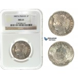 I66, France, 3rd Republic, 2 Francs 1887-A, Paris, Silver, NGC MS63