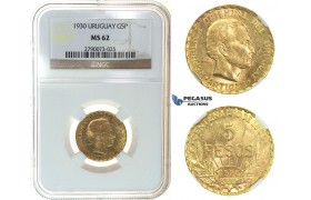 I74, Uruguay, 5 Pesos 1930, Gold, NGC MS62