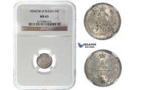 I76, Russia, Nicholas I, 5 Kopeks 1854 СПБ-HI, Silver, NGC MS63