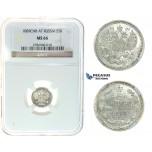 I80, Russia, Alexander III, 5 Kopeks 1889 СПБ-АГ, Silver, NGC MS66