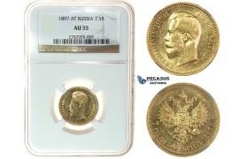 I84, Russia, Nicholas II, 7 1/2 Roubles 1897 (АГ) Gold, Bitkin 2, NGC AU55
