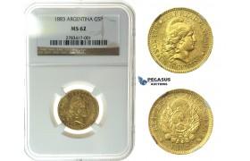 I87, Argentina, 5 Pesos 1883, Gold, NGC MS62