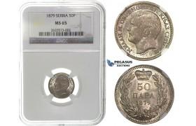 I90, Serbia, Milan I. Obrenovic, 50 Para 1879, Vienna, Silver, NGC MS65 (only 1 better) Rare!