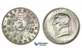 I94, Austria, Republic, 2 Schilling 1932 (Joseph Haydn) Silver, UNC!