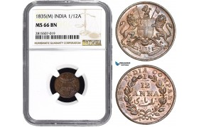 AA843, India (EIC) 1/12 Anna 1835 (M) Madras, NGC MS66BN, Pop 1/0