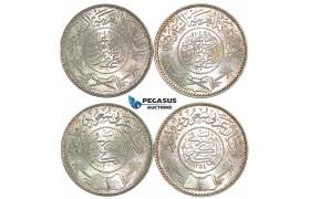 J23, Saudi Arabia, Abd Al-Aziz Bin Sa'ud, Riyal AH1354 & AH1370 (2 coins) UNC!