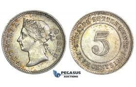 J24, Straits Settlements, Victoria, 5 Cents 1900, Silver, Toned TOP Grade!