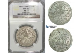 J26, Ottoman Empire, Turkey, Ahmed III, Yirmilik AH1115, Kostantiniye, NGC MS62